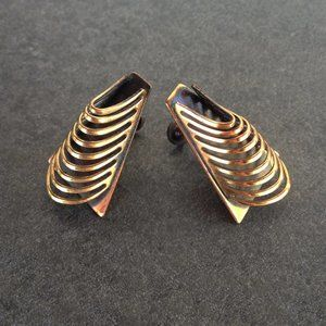 Vintage 60's Abstract Modernist Copper Earrings